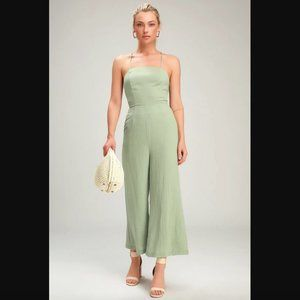 Lulu's Adelia Sage Green Lace-Up Culotte Jumpsuit Size Small